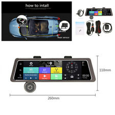 """10""""4G Touch IPS GPS Navigation Dual Lens Car Rearview Mirror DVR Recorder Camera"""