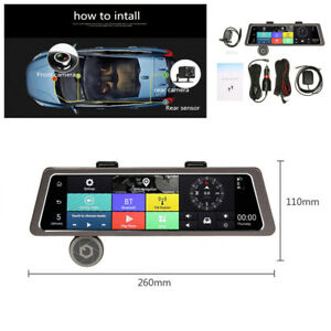"10""4G Touch IPS GPS Navigation Dual Lens Car Rearview Mirror DVR Recorder Camera"