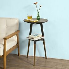 Vintage Retro Side Table 3 Wooden Legs Black Round Telephone Stand Display Unit