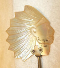 Mother of Pearl Indian Chief Caviar Spoon w/Silver Plate Handle Iroquois Falls