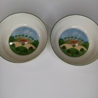 Vintage Sango Sangostone Country Cottage Cereal /Soup Bowl Set of 2
