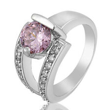 Ring Double of Engagement of Gold White with Sapphire Pink and Cubic Zirconia