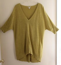 Eileen Fisher -Sz XL Yellow-Green Funky V-Neck Linen-Cotton Long Sweater Tunic