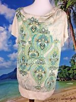 Style & Co. Women's Tan & Green Short Sleeve Embellished Top Sz L