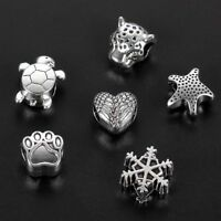 30Pc Ancient Silver Mixed Big Hole Spacer Charm Beads Fit DIY Necklace&Bracelet