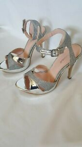 Silver High Heels high quality special occasion (ANDREA) Pre-Owned without box
