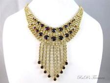 Vintage Purple & Clear CZECH Crystal Rhinestone Dangle Gold Tone Necklace Choker