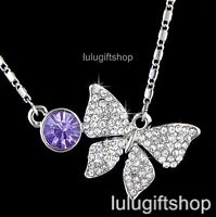WHITE GOLD PLATED BUTTERFLY PENDANT NECKLACE W AMETHYST COLOUR SWAROVSKI CRYSTAL