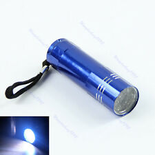 9 LED Bright Blue Aluminum Flashlight Mini Small Torch Travel Camping Hiking