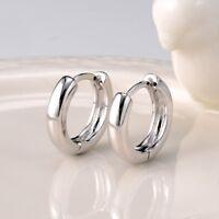 Women's Smooth Earrings 18k White Gold Filled 14MM Hoop Huggie Fashion Jewelry