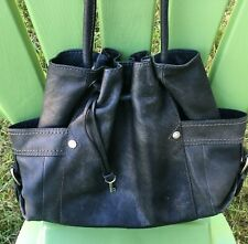 FOSSIL Key  Black Leather Satchel Purse Shoulder Bag Tote Rare