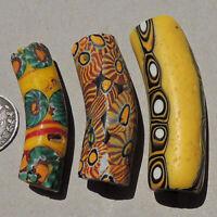 3 old venetian large elbow millefiori african trade beads #4879