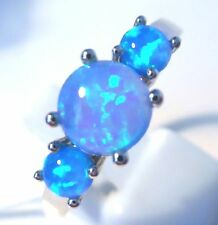 **NEW**STUNNING 3 STONE BLUE FIRE RING  UK SIZE  R
