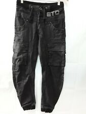 Boys Men Jeans Denim Black Eto Tapered Cuff Ankle Size 28