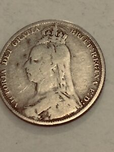 Silver  (5 Gms1887 Queen Victoria ~ Silver Shilling Coin. very collectable item