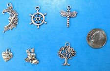6pcs Tibet Silver Pendants LOT #21 Mixed Crafts Jewelry Making Charms