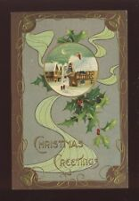 Greetings Christmas ART NOUVEAU Style embossed c1900s PPC