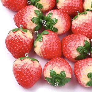 10pc Red Resin Strawberry Pendants Mini Cute Fruit Dangle Charm Craft 34x28~29mm