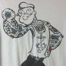 Popeye The Sailor Man Tattoo T-Shirt Grey Short Sleeve Graphic Tee Adult Size M