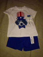 Okie Dokie 9 month infant boys patriotic short set