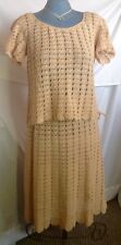 Women's Handmade Crochet Blouse & Skirt Set Tan Beige 2 piece Dress Sz Large