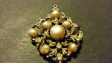 Vintage Old Brooch Pearl Silver Colour