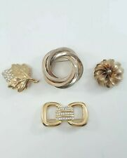 Estate Lot of 4 Vintage Gold Tone Costume Jewelry Brooch Pins with Rhinestones