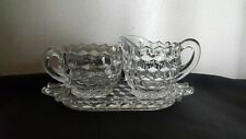 Fostoria American Creamer, Open sugar and Tray