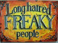 Original Acrylic Long haired Freaky People Pea Jayne Restall Painting Fairground