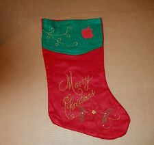 Apple Logo Merry Christmas Stocking - Fancy Red and Green