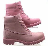 TIMBERLAND SLIM PREMIUM 6 INCH PINK LEATHER WALKING BOOTS SIZES 3.5-8 FADED NEW