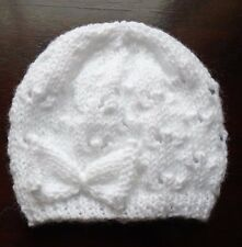 Hand knitted white newborn baby girls hat with matching bow FREEPOST