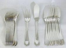 12 couverts à poisson 24 pièces, métal argenté, modèle Baguette/Rocaille.