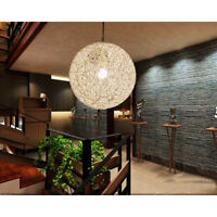 Round Wicker Rattan Ceiling Pendant Light Shade Easy Fit Lampshade Lighting