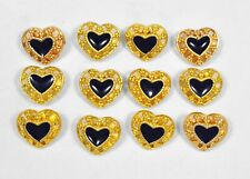 Vintage Lot of 12 Gold Tone Hearts w Blue Enamel Middle Novelty Buttons Metal