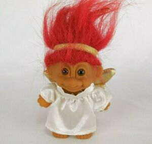 "Troll Doll Christmas Angel Hanging Ornament 3"" Red Hair Vintage Russ 1991"
