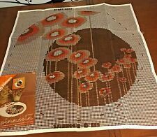 """Vtg Mid Century Spinnerin Latch Hook Canvas Moon Flowers 34"""" Round Mod Floral"""