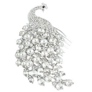 Desire Accessories Austrian Clear Crystal Peacock Bridal Hair Comb