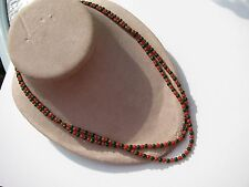 VTG.RETRO 2 STRANDS RED CORAL GREEN JADE 2 MM.GOLD FACET SPACER BEADS NECKLACE