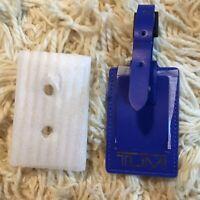 TUMI Blue Name Tag  Leather Luggage bag backpack Tag Leather Silver TUMI