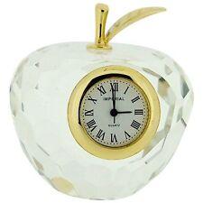 """Miniatura Cristal Chapado En Oro """"El Grande Manzana"""" Reloj Novedad Coleccionista"""