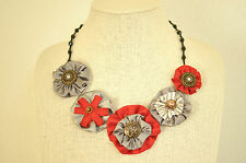 Statement Necklace Gray Red Fabric Floral Peony Upcycled Handmade Crystal Bead