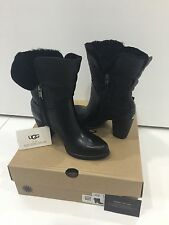 UGG Australia Jayne Black Leather Womens Boots Size US 6.5 UK 5 Brand New In Box