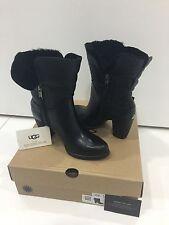 UGG Australia Jayne Black Leather Womens Boots Size US 6 UK 4.5 Brand New In Box