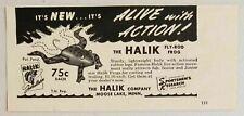 1949 Print Ad Halik Fly-Rod Frog Fishing Lures Moose Lake,Mn