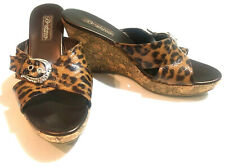 "BRIGHTON 9 M Sandal Shoes Wedge Animal Print Buckle Summer Platform Cork 4"" Heal"