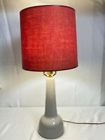 Gordon And Jane Martz Signed MCM Pottery Lamp With Shade And Teak Finial