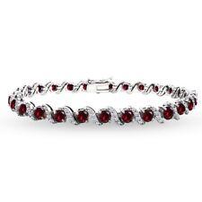 925 Silver Created Ruby & White Topaz 4mm Round-Cut S Design Tennis Bracelet