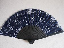 Fächer Handfächer Taschenfächer aus Bambus und Stoff schwarz-blau