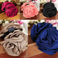 Fashion Womens Girls Chiffon Rose Flower Bow Hair Claw Clip s Barrette Jaw G5G8